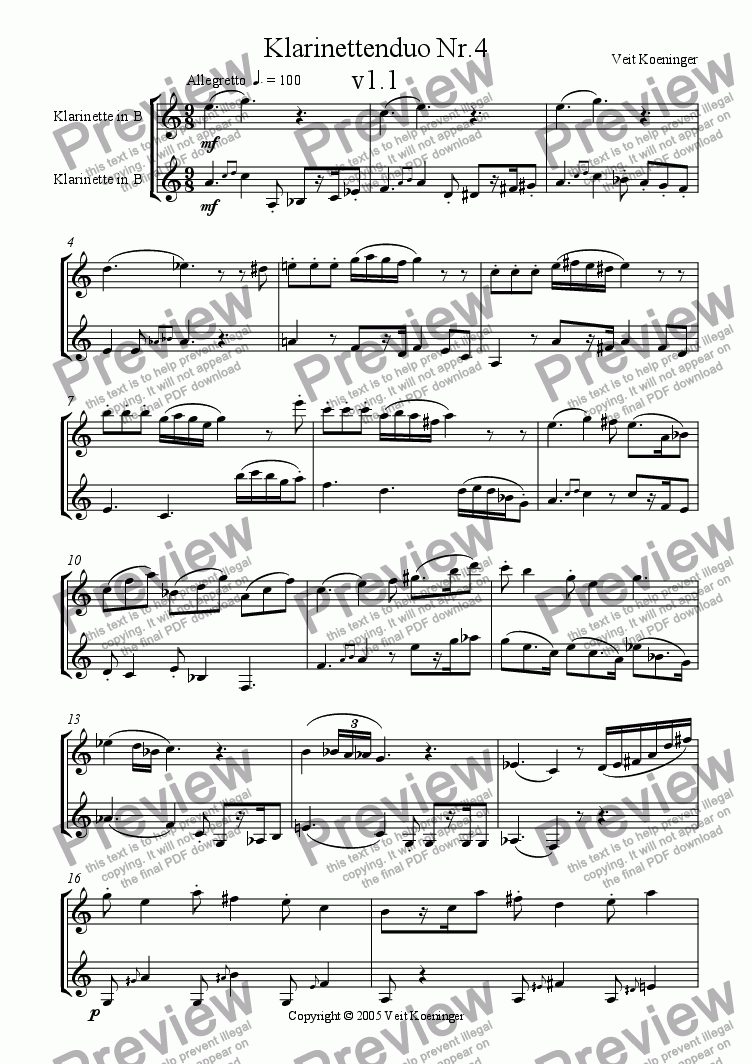 page one of Clarinet duo 4