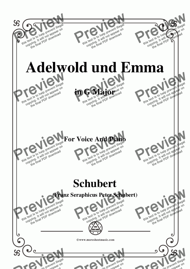 page one of Schubert-Adelwold und Emma,in G Major,for Voice&Piano