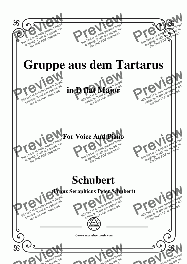 page one of Schubert-Gruppe aus dem Tartarus,Op.24 No.1,in D flat Major,for Voice&Piano