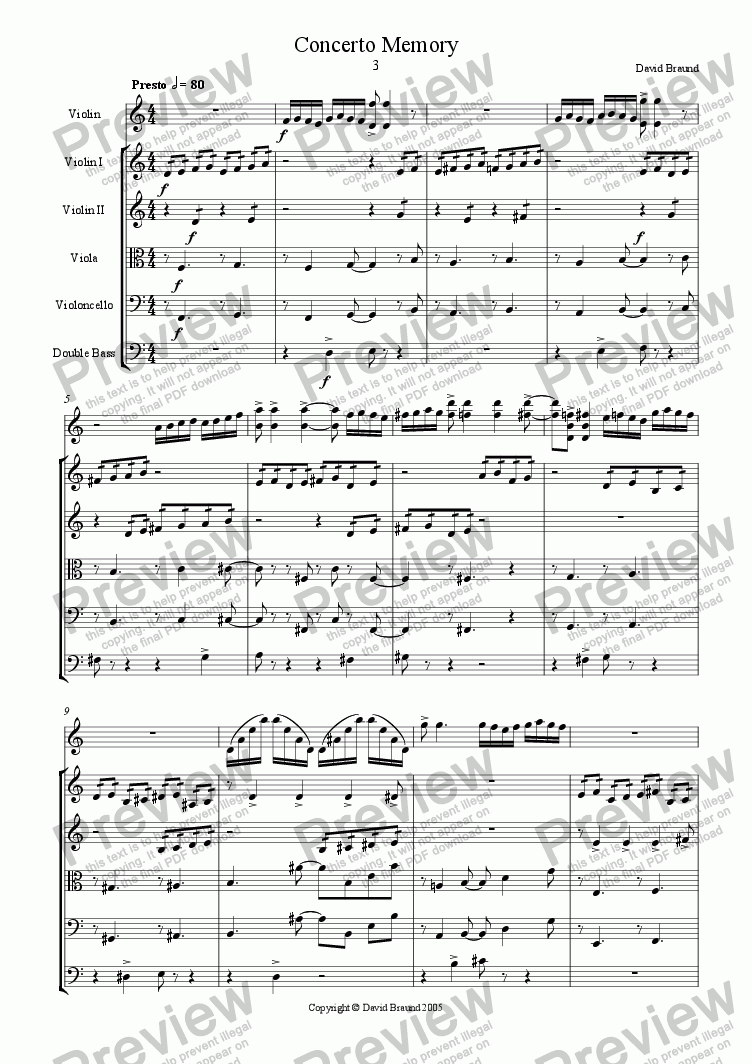 page one of Concerto Memory - Finale