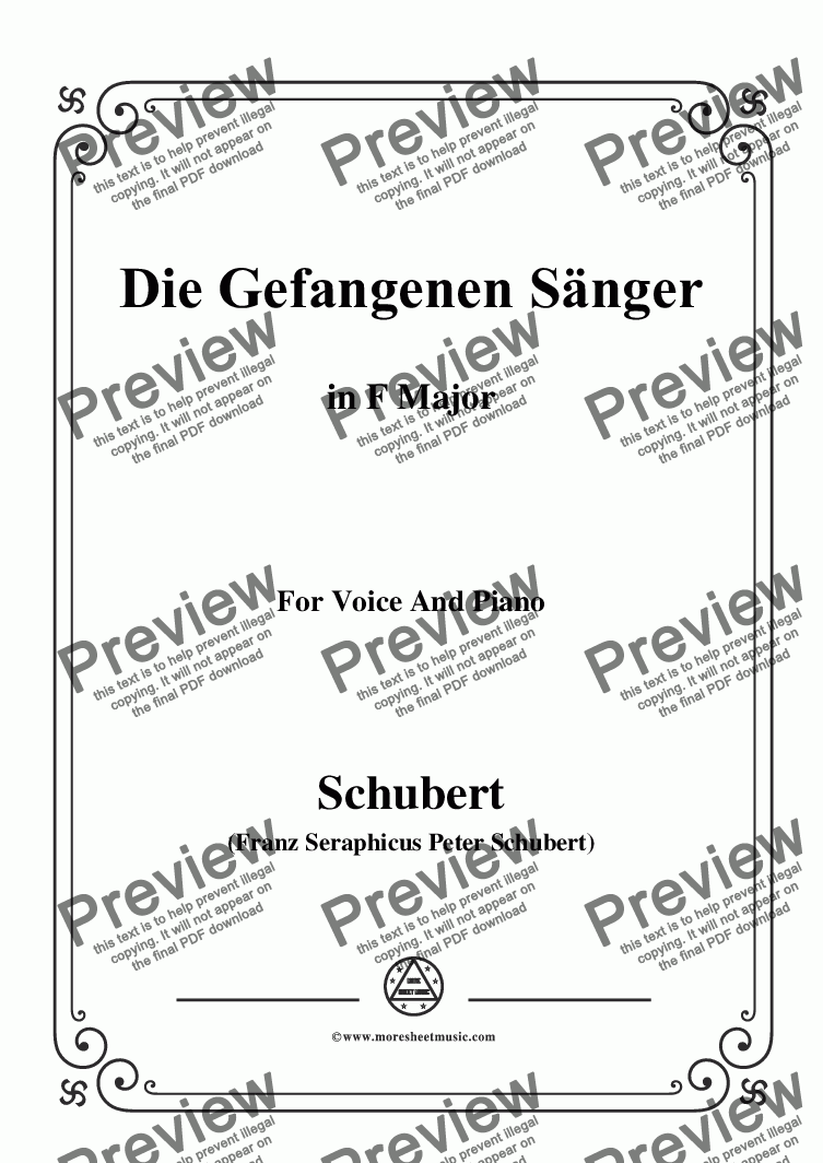 page one of Schubert-Die Gefangenen Sänger,in F Major,for Voice&Piano