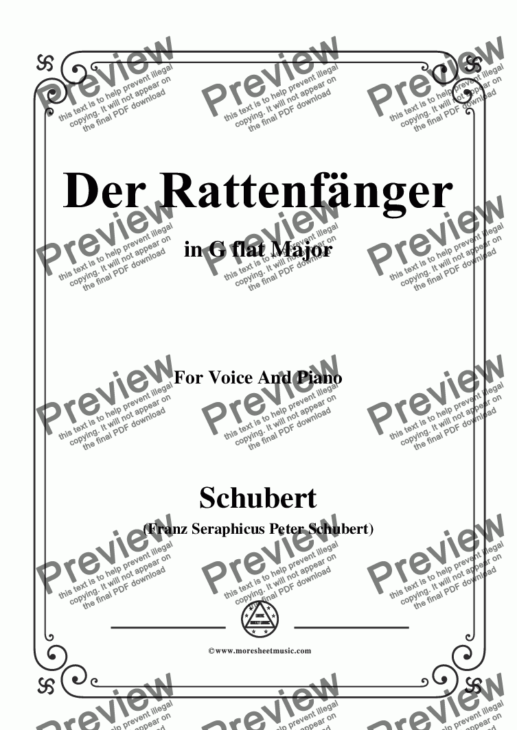 page one of Schubert-Der Rattenfänger,in G flat Major,for Voice&Piano