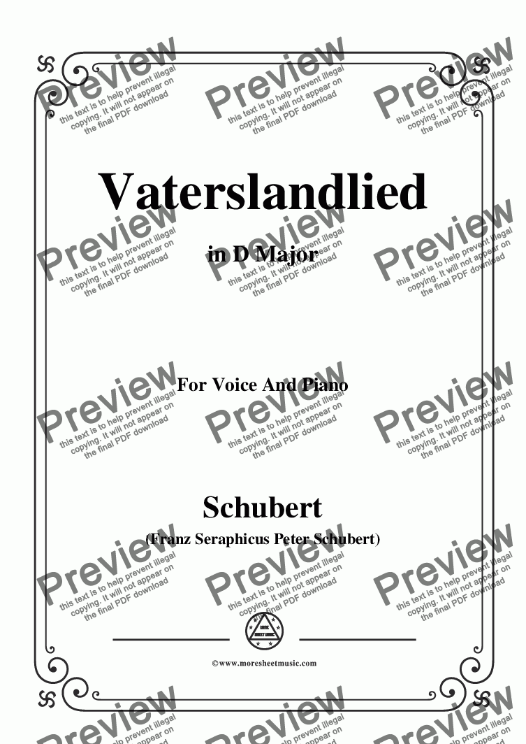 page one of Schubert-Vaterslandlied,in D Major,for Voice&Piano
