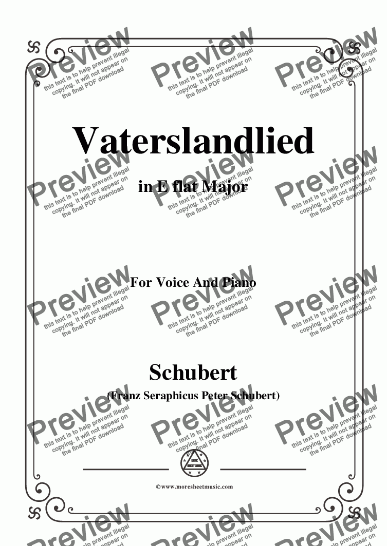 page one of Schubert-Vaterslandlied,in E flat Major,for Voice&Piano