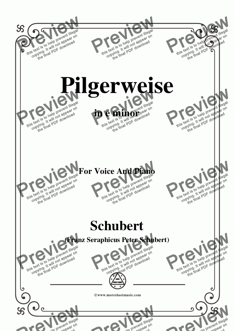 page one of Schubert-Pilgerweise,in e minor,for Voice&Piano