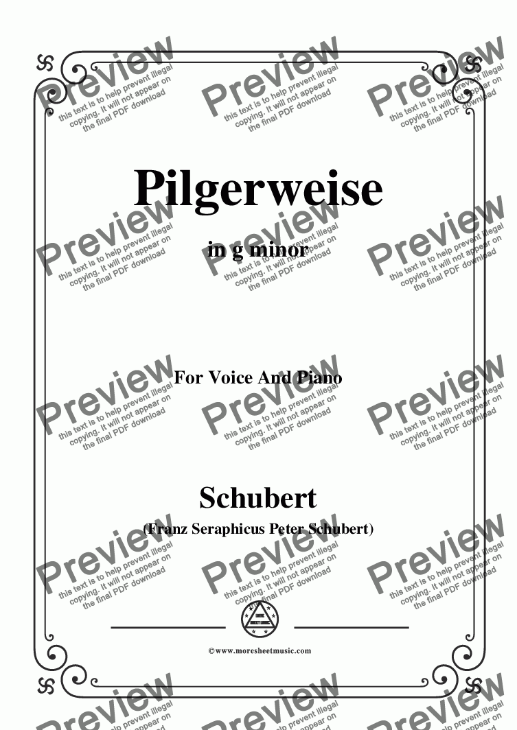 page one of Schubert-Pilgerweise,in g minor,for Voice&Piano