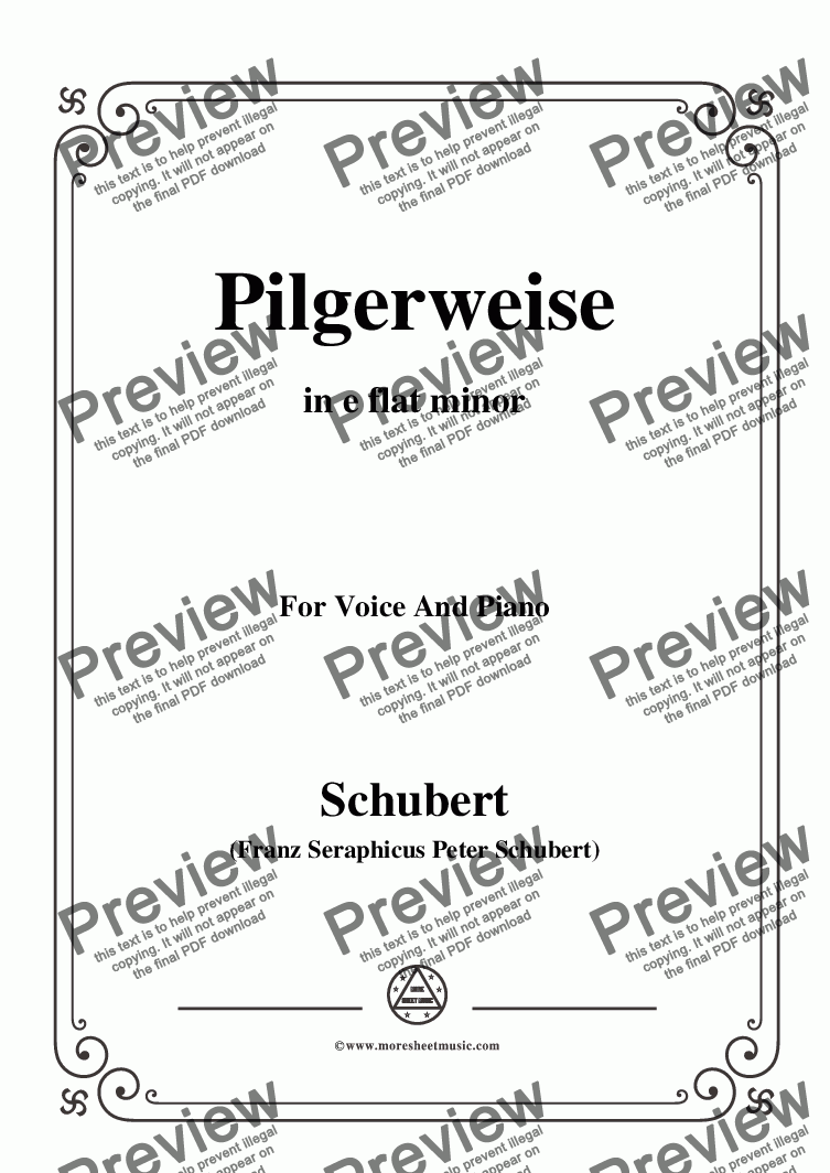 page one of Schubert-Pilgerweise,in e flat minor,for Voice&Piano