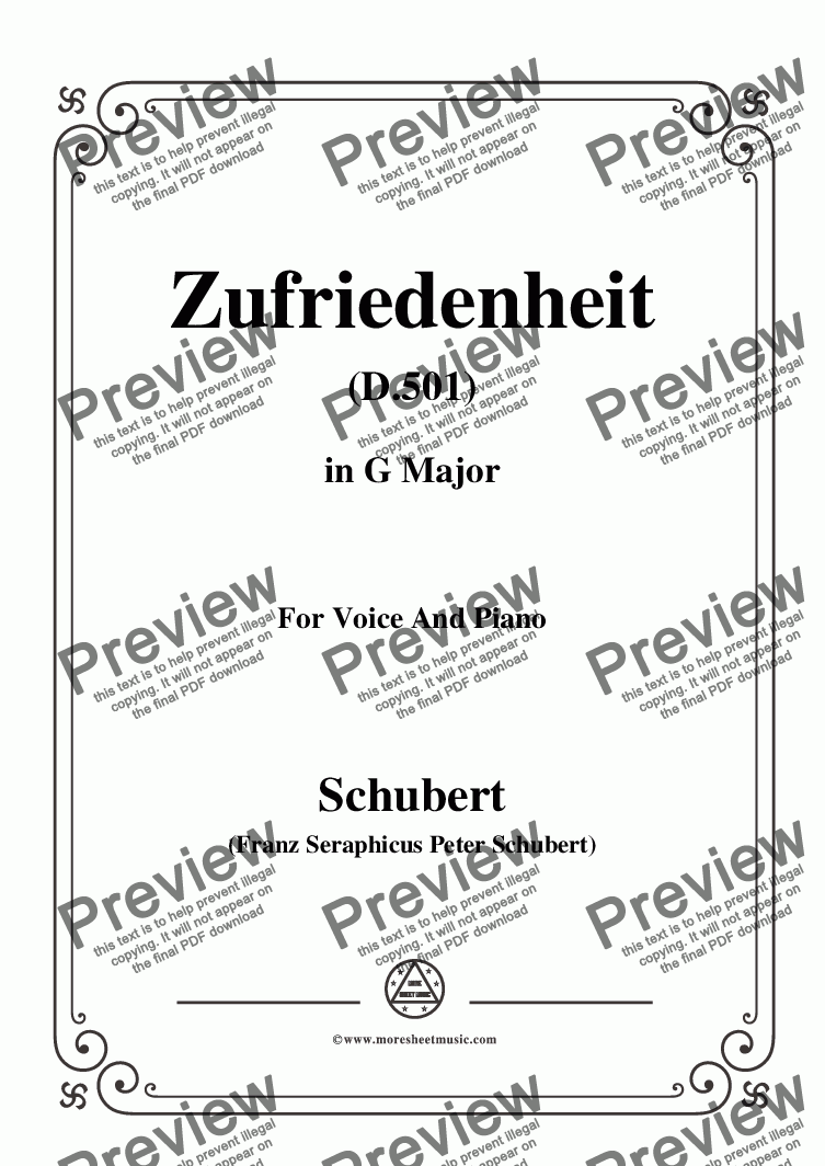 page one of Schubert-Zufriedenheit(Contentment),D.501,in G Major,for Voice&Piano