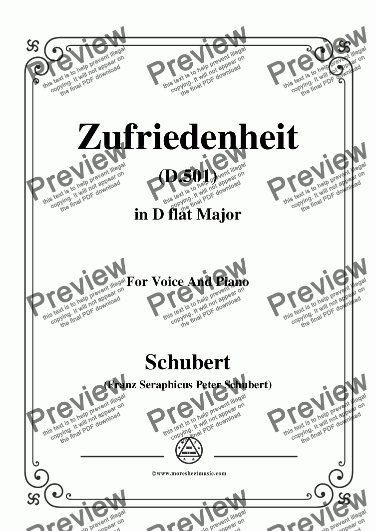 page one of Schubert-Zufriedenheit(Contentment),D.501,in D flat Major,for Voice&Piano