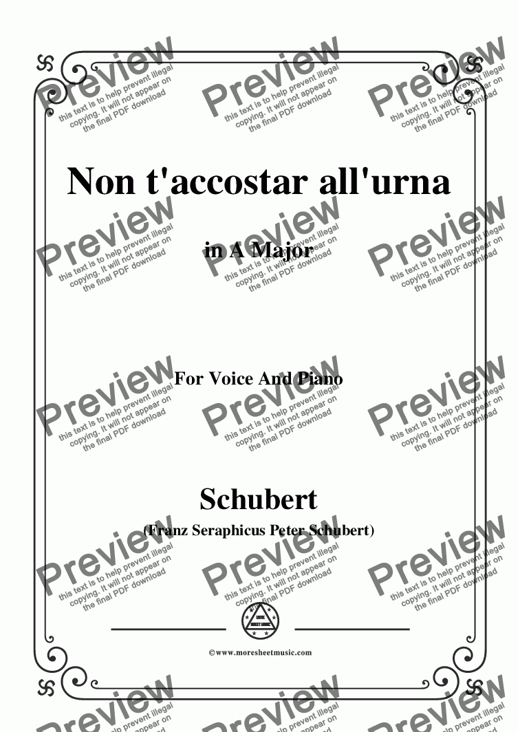 page one of Schubert-Non t'accostar all'urna,D.688 No.1,in A Major,for Voice&Piano