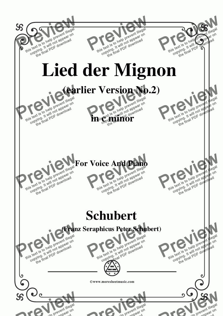 page one of Schubert-Lied der Mignon (earlier Ver.2),from 'Wilhelm Meister',in c minor,for Voice&Pno