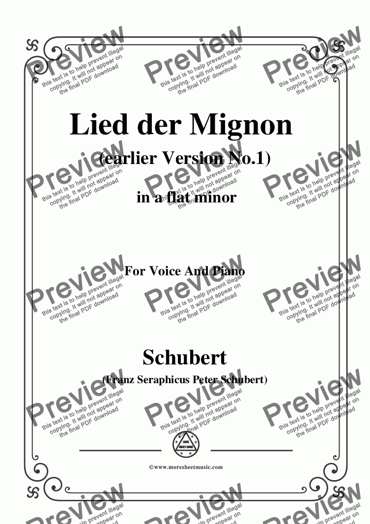 page one of Schubert-Lied der Mignon (earlier Ver.1),from 'Wilhelm Meister',in a flat minor,for Voice&Pno