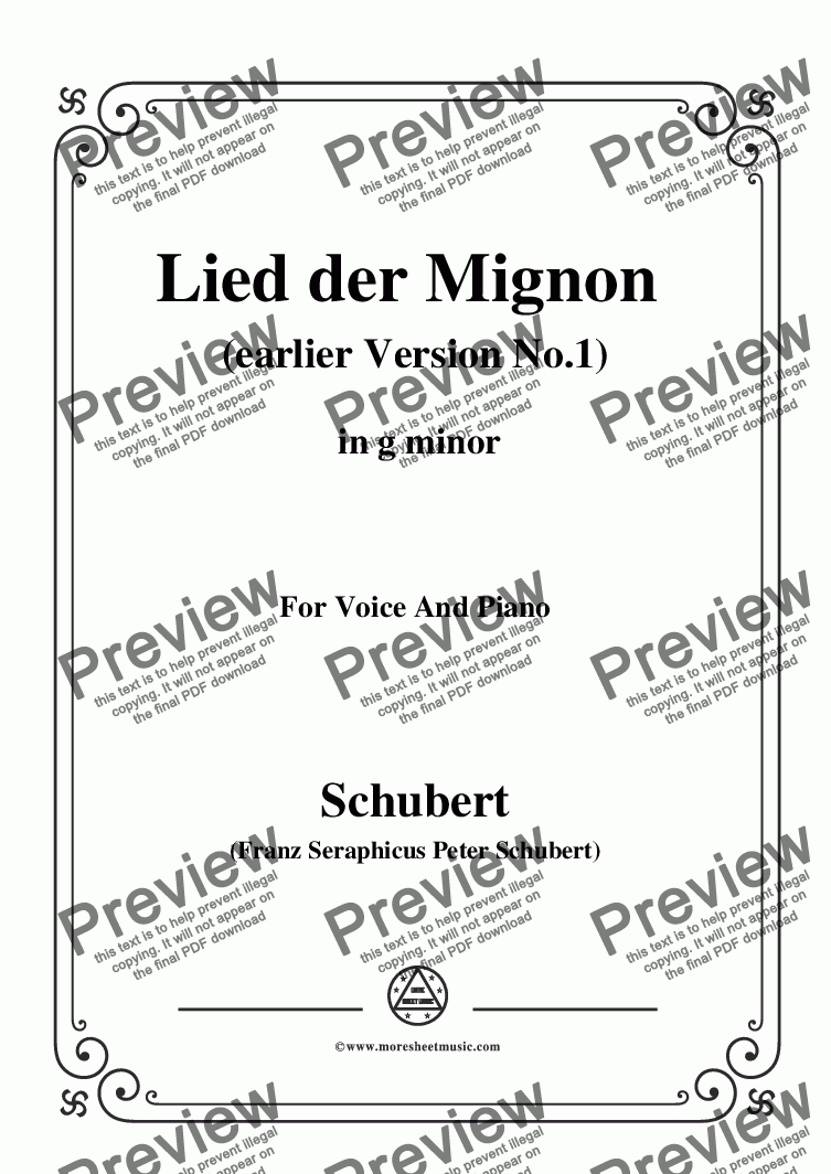 page one of Schubert-Lied der Mignon (earlier Ver.1),from 'Wilhelm Meister',in g minor,for Voice&Pno