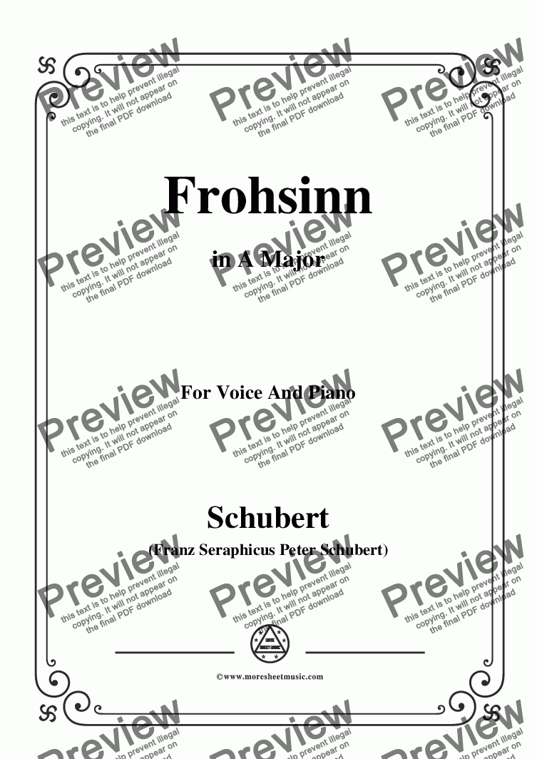 page one of Schubert-Frohsinn(Cheerfulness),D.520,in A Major,for Voice&Piano