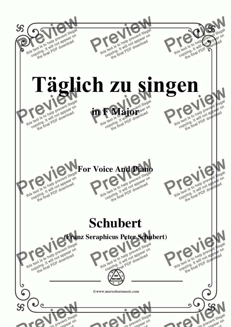 page one of Schubert-Täglich zu singen,in F Major,for Voice&Piano