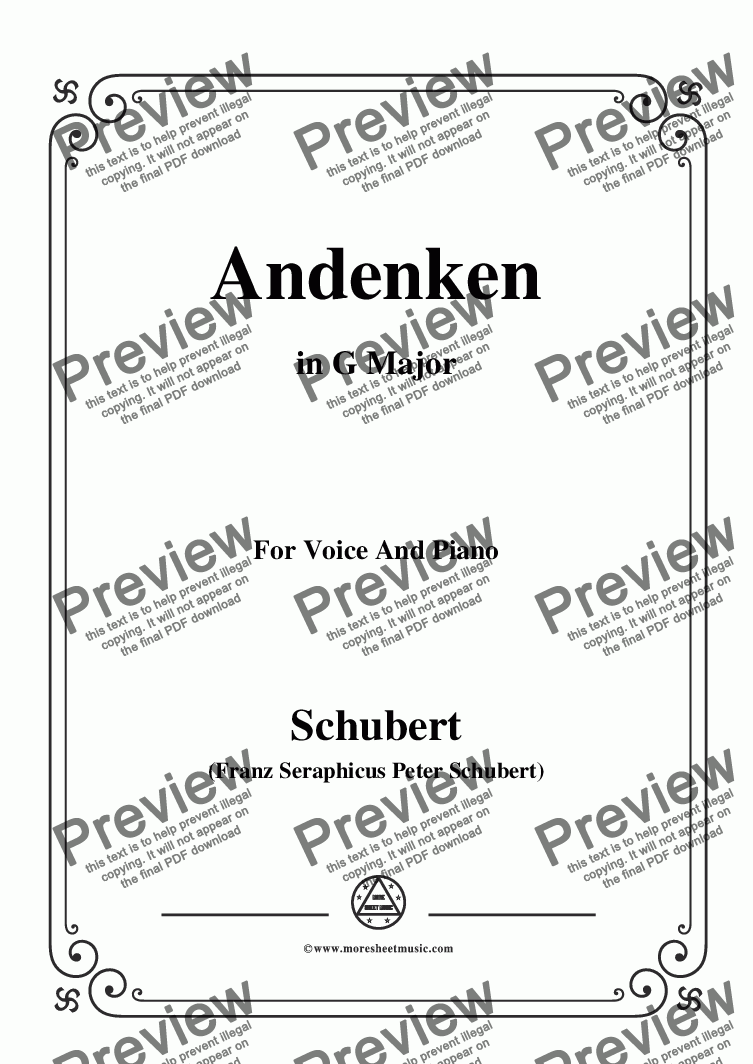 page one of Schubert-Andenken,in G Major,for Voice&Piano