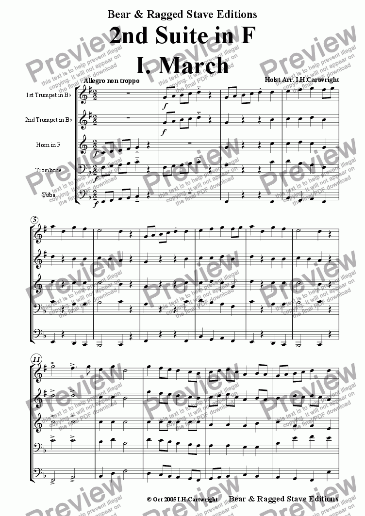 page one of 2nd Suite in F  -  I. March for brass quintet