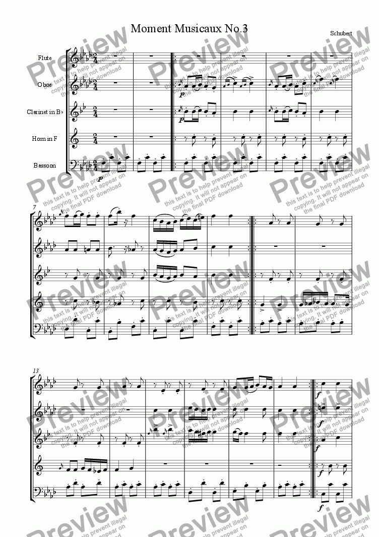 page one of Moment Musicaux No. 3