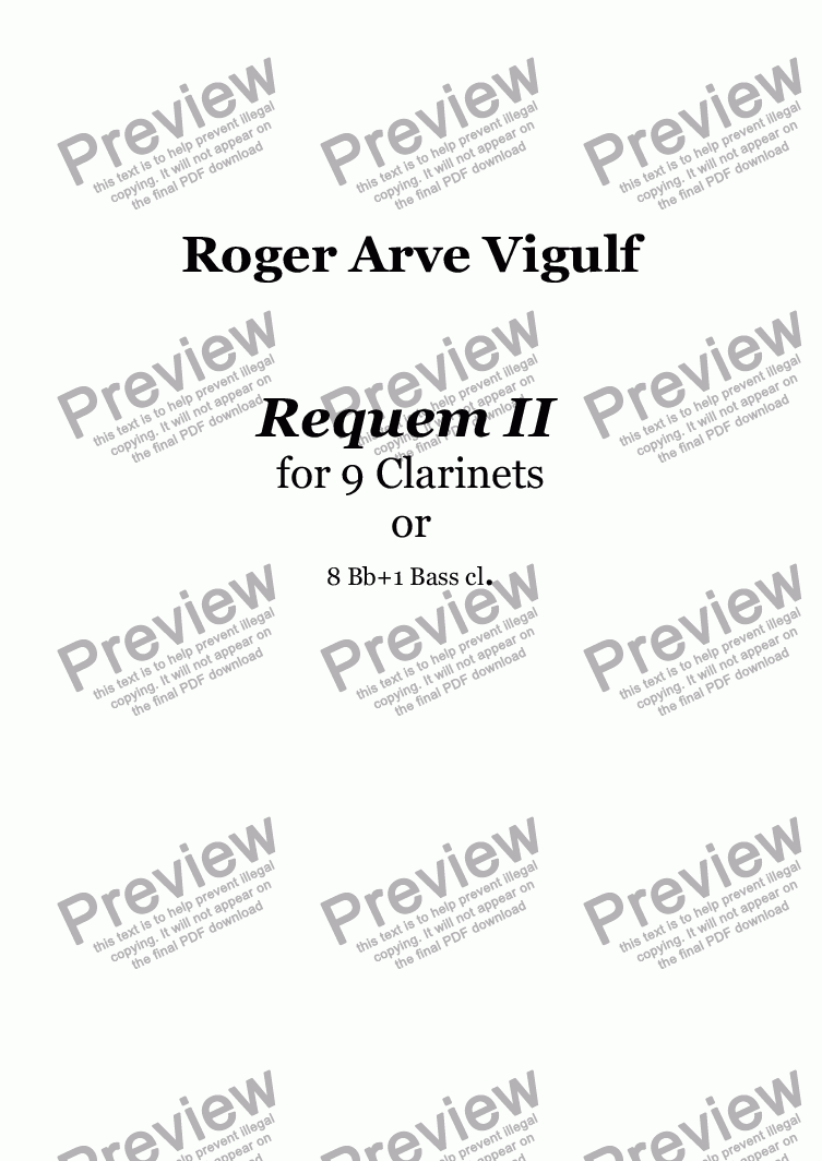 page one of Vigulf - Requem for 9 Clarinets - Full Score