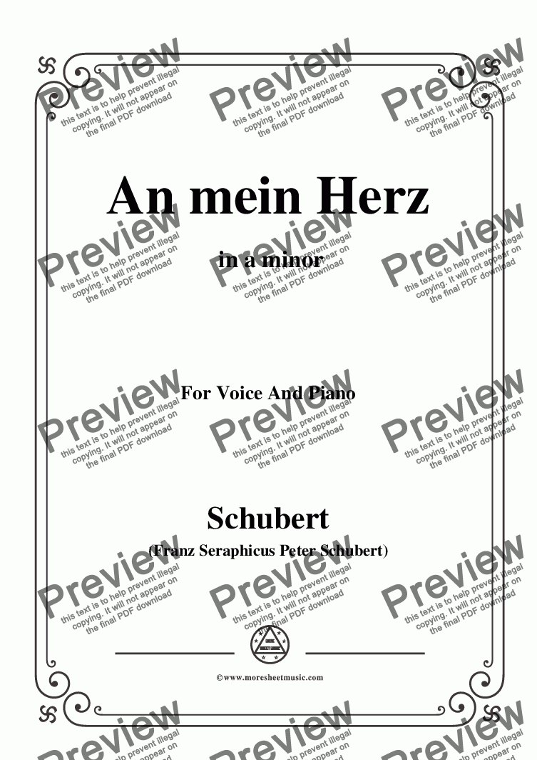 page one of Schubert-An mein Herz,in a minor,for Voice&Piano