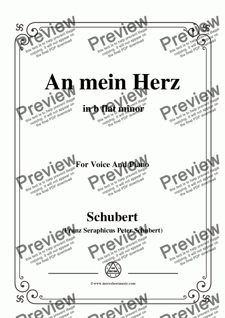 page one of Schubert-An mein Herz,in b flat minor,for Voice&Piano