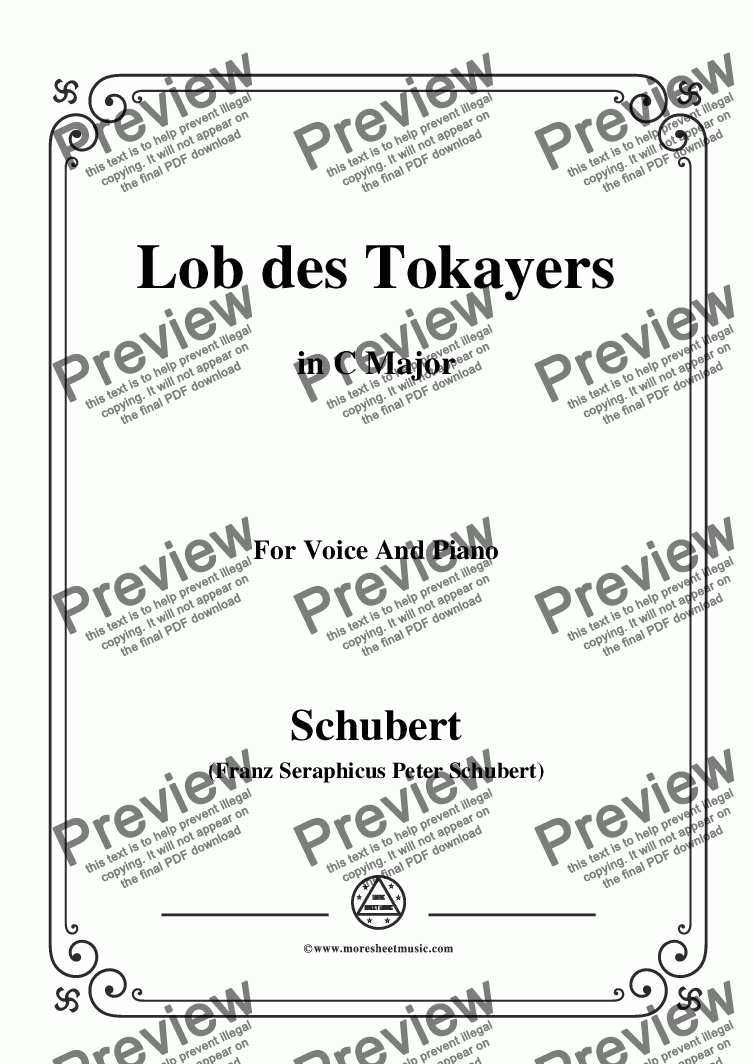 page one of Schubert-Lob des Tokayers,Op.118 No.4,in C Major,for Voice&Piano