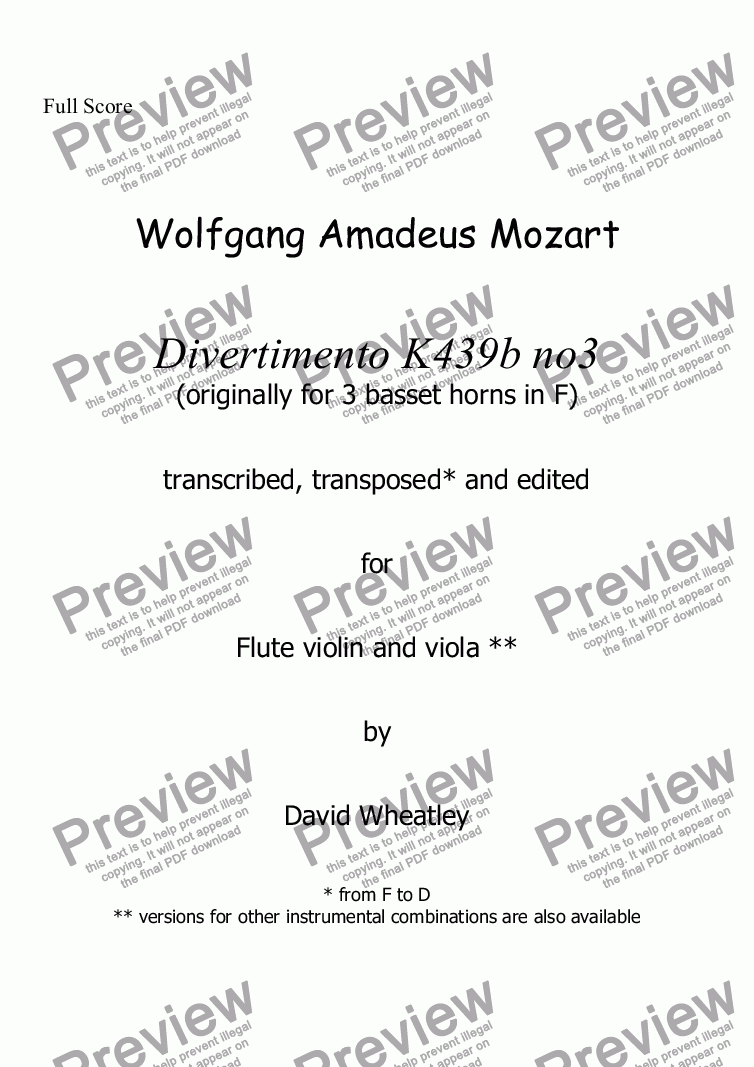 page one of Mozart - Divertimento K439b no 3 for flute violin and viola transcribed by David C Wheatley