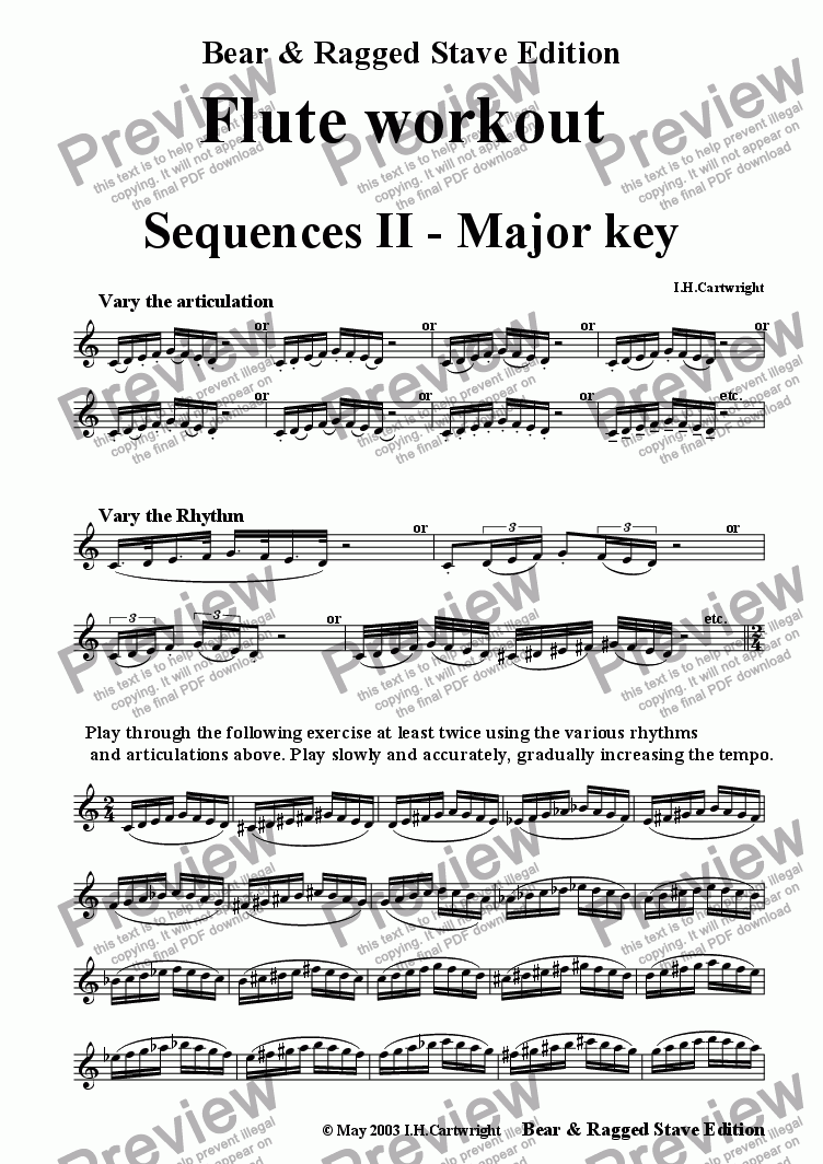 page one of Flute workout - Sequences II