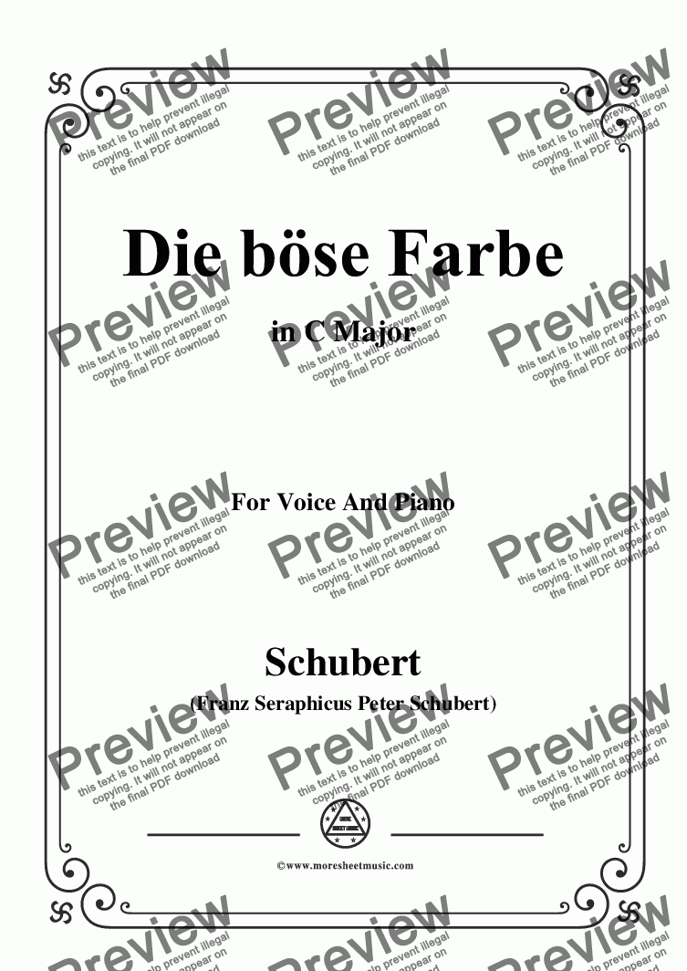 page one of Schubert-Die böse Farbe,from 'Die Schöne Müllerin',Op.25 No.17,in C Major,for Voice &Piano