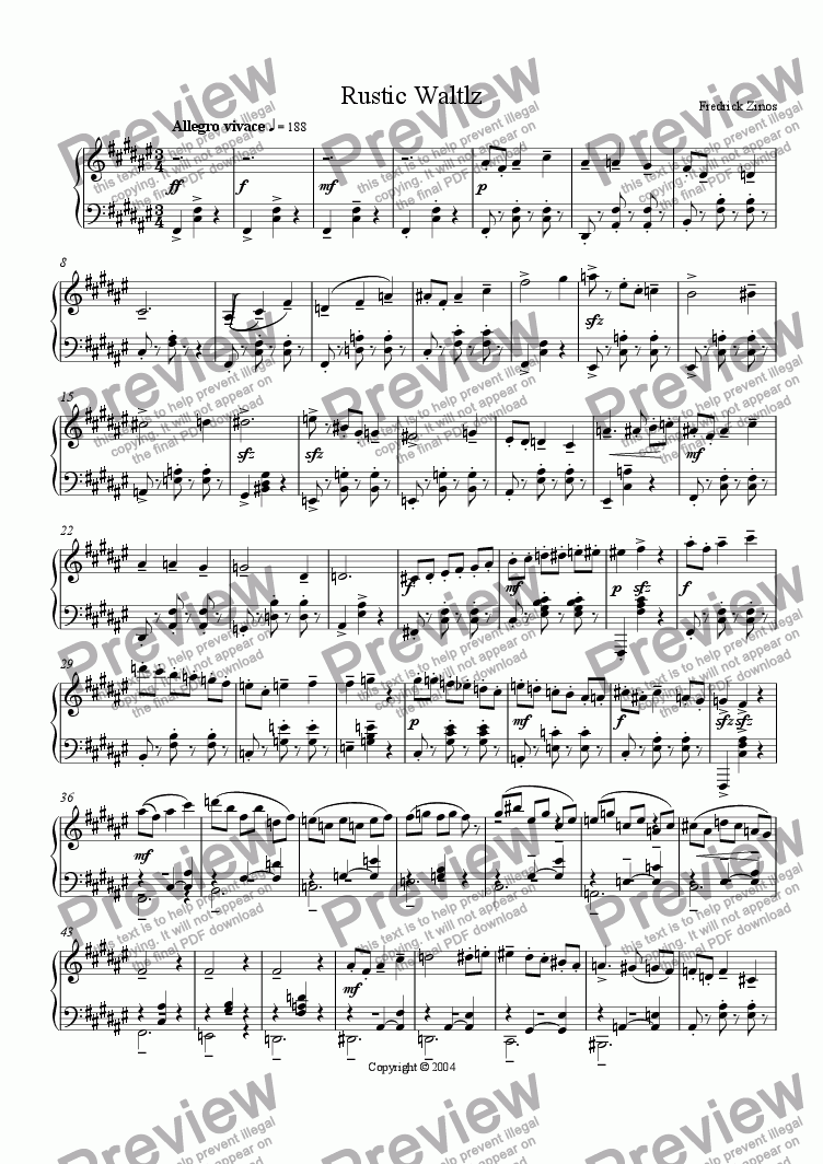 page one of Rustic Waltz