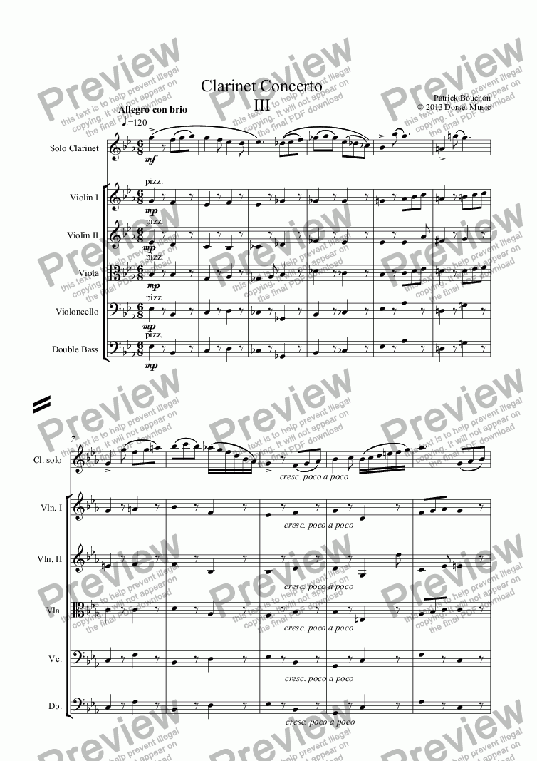 page one of Clarinet Concerto (Third Movement)