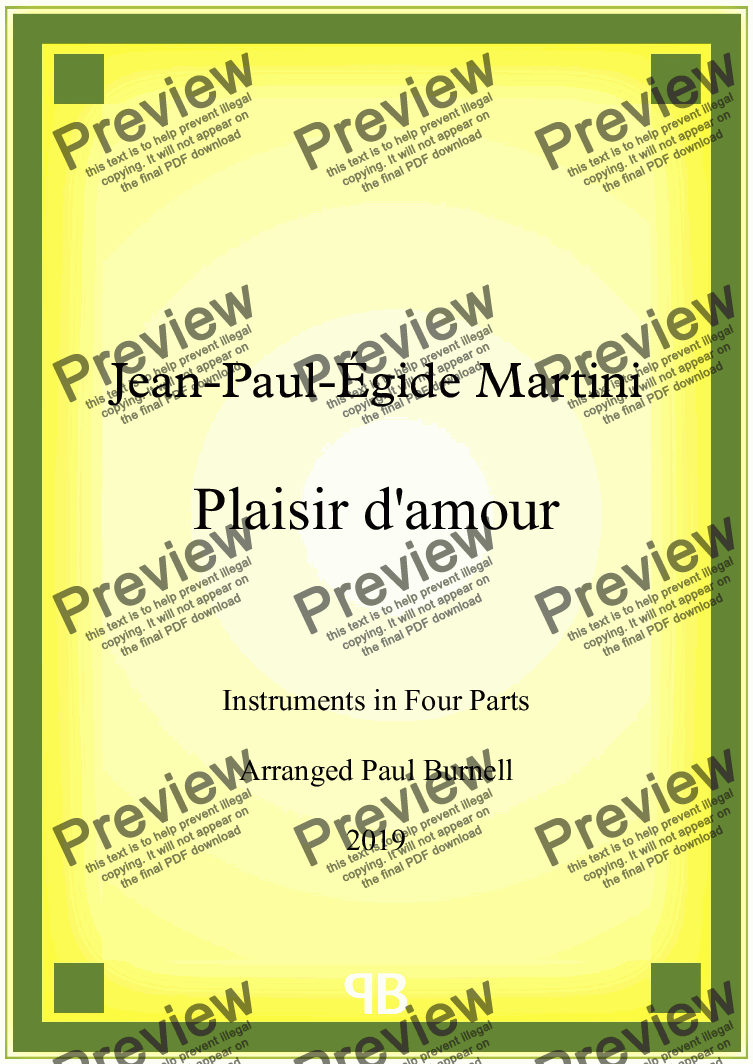 page one of Plaisir d'Amour, arranged for instruments in four parts  - Score and Parts