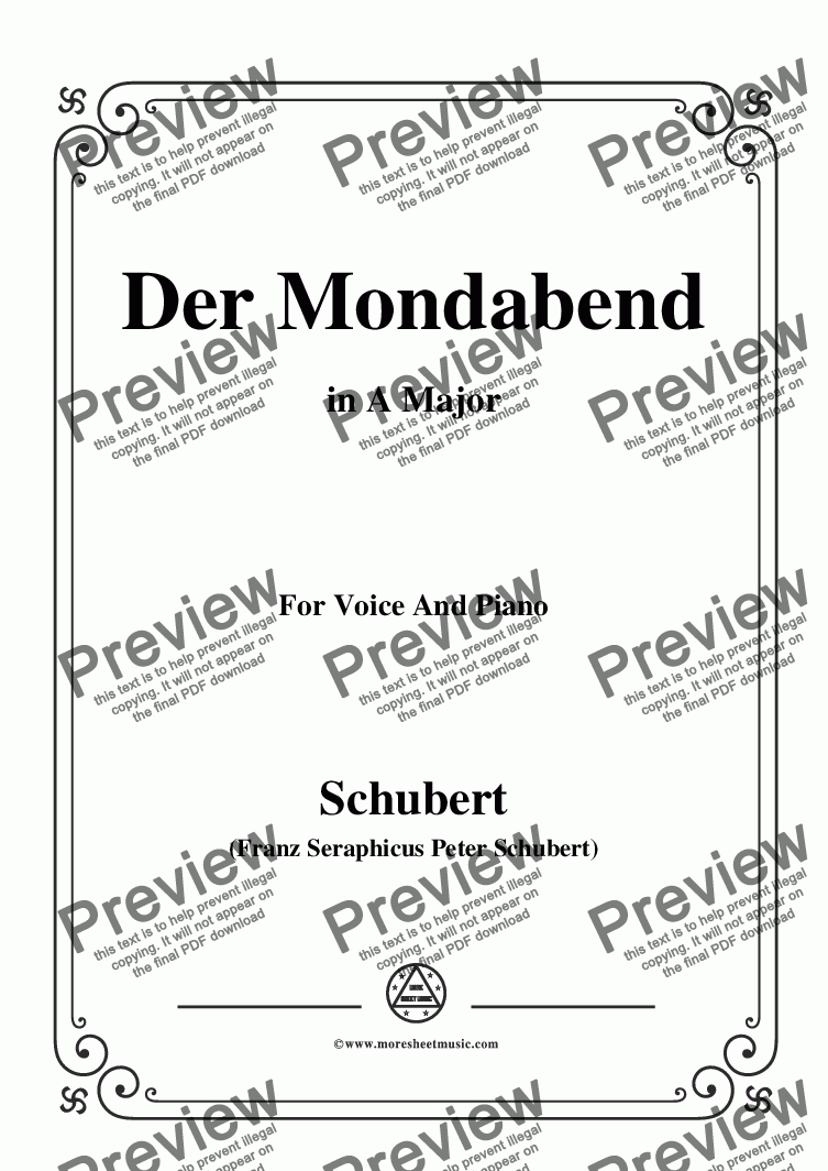 page one of Schubert-Der Mondabend,Op.131 No.1,in A Major,for Voice&Piano