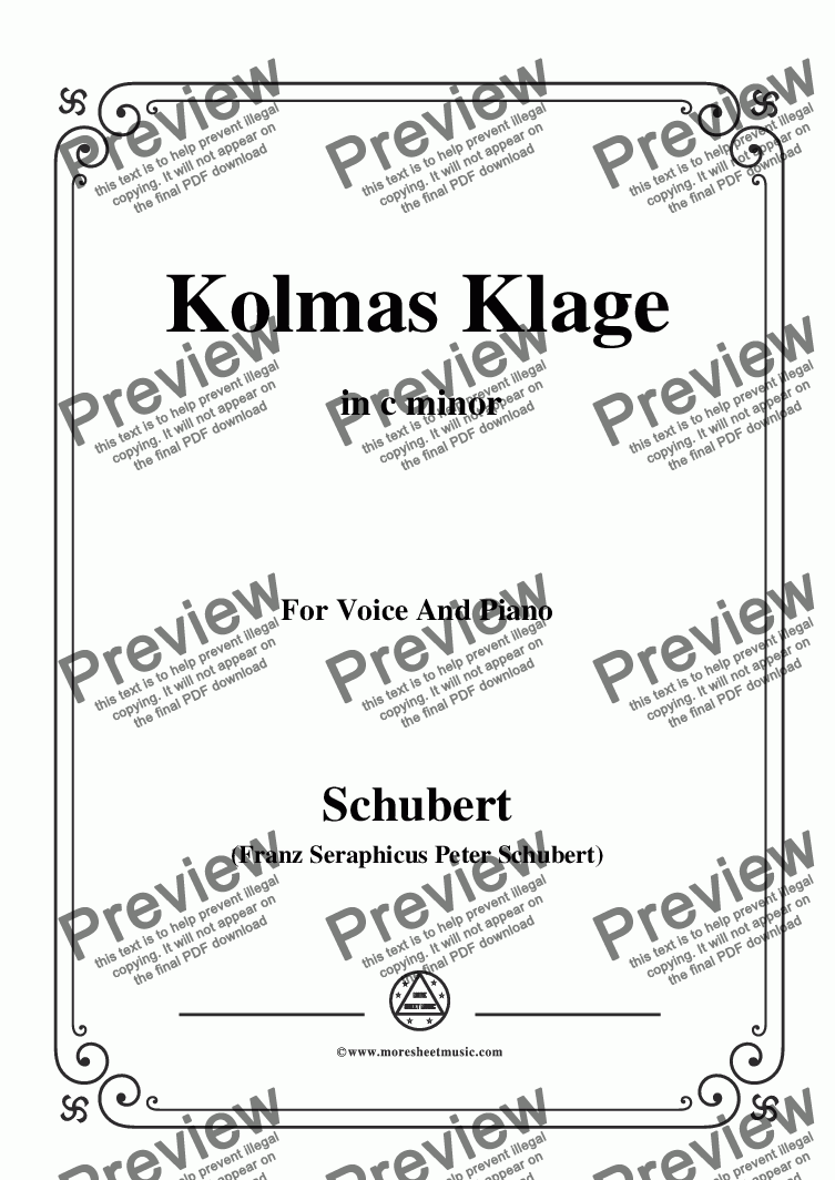 page one of Schubert-Kolmas Klage(Colma's Lament),D.217,in c minor,for Voice&Piano