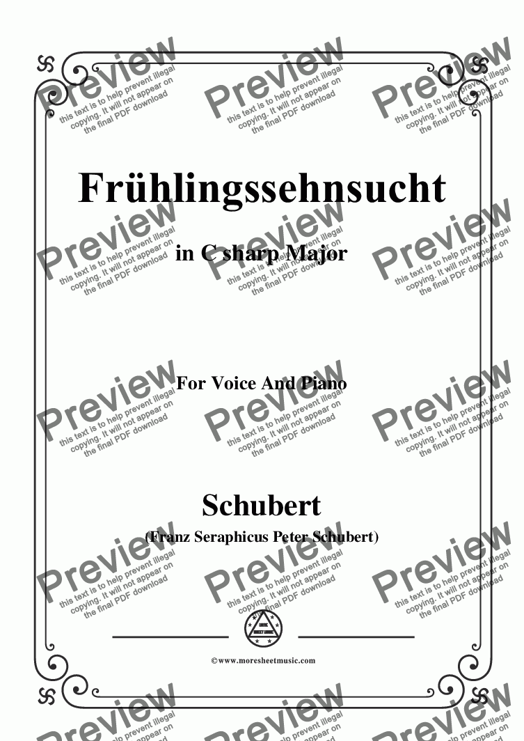 page one of Schubert-Frühlingssehnsucht,in C sharp Major,for Voice&Piano