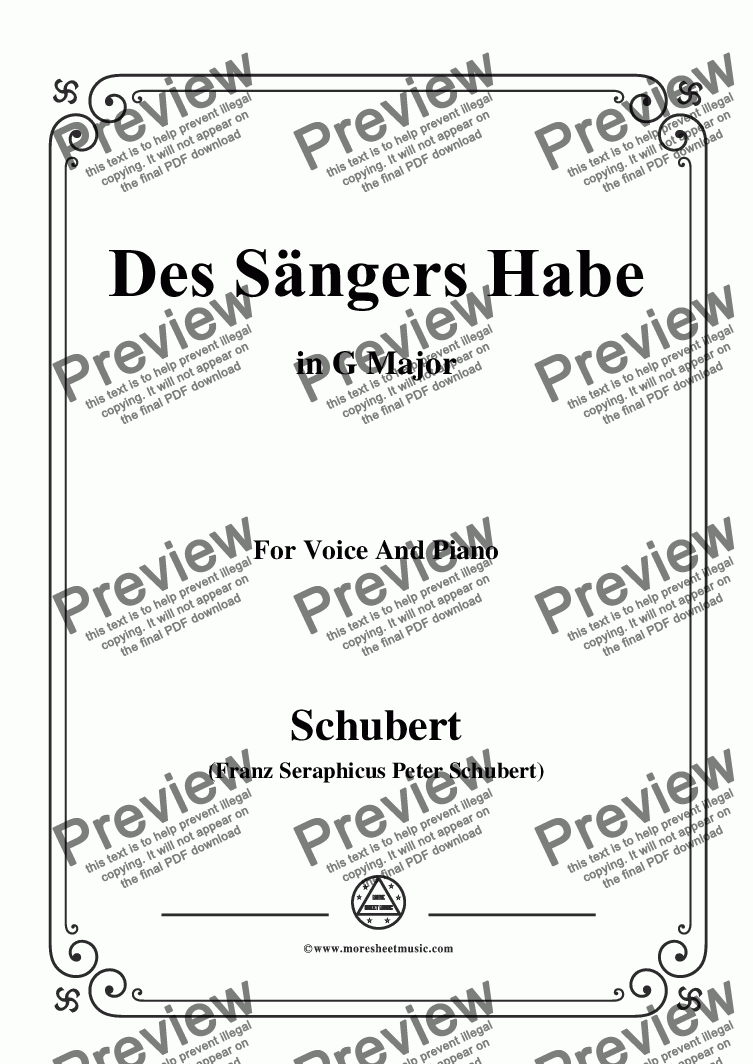 page one of Schubert-Des Sängers Habe,in G Major,for Voice&Piano