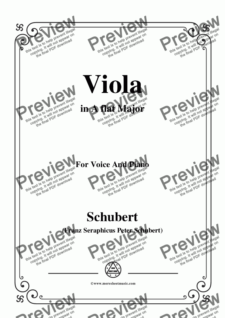 page one of Schubert-Viola(Violet),Op.123(D.786),in A flat Major,for Voice&Piano