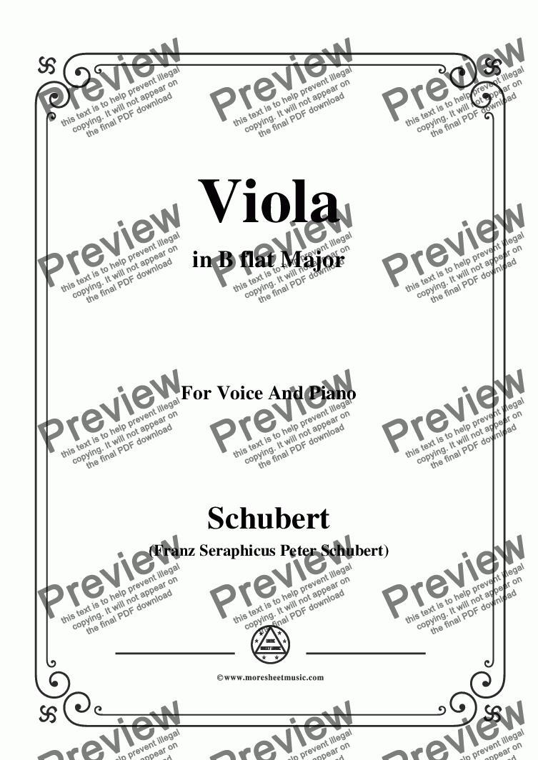 page one of Schubert-Viola(Violet),Op.123(D.786),in B flat Major,for Voice&Piano