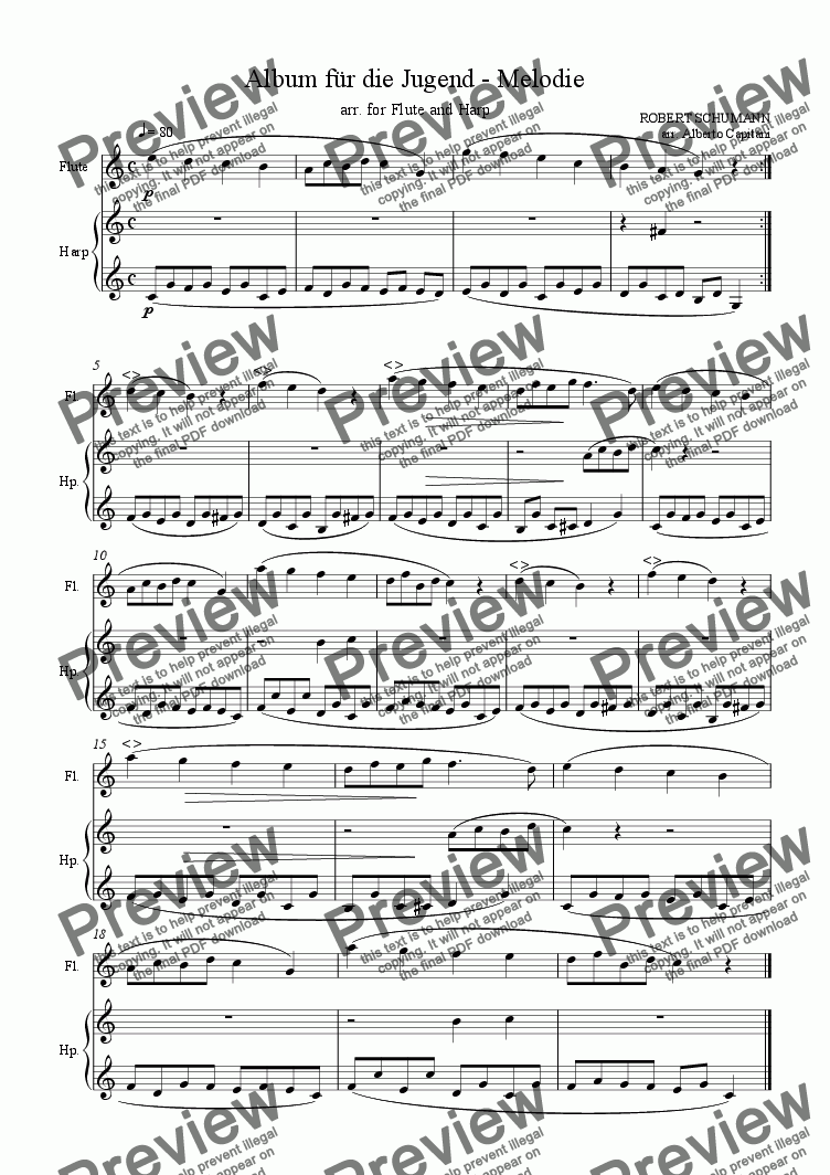 page one of Album für die Jugend - op. 68 - Melodie - arr. for Flute and Harp