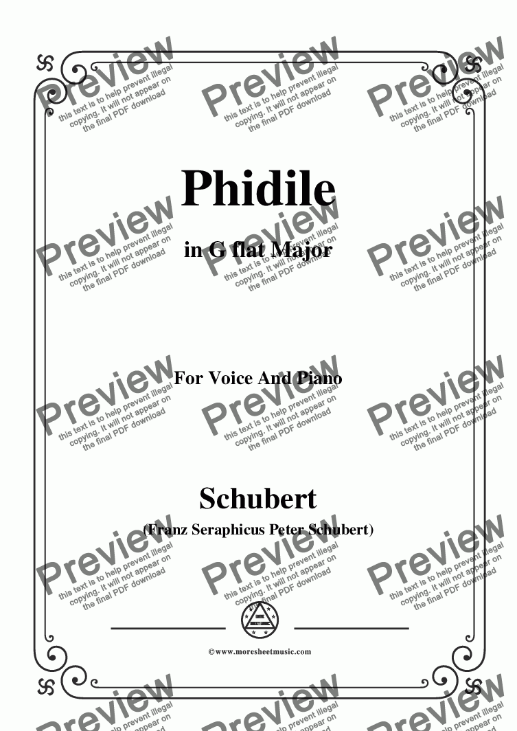 page one of Schubert-Phidile,in G flat Major,for Voice&Piano