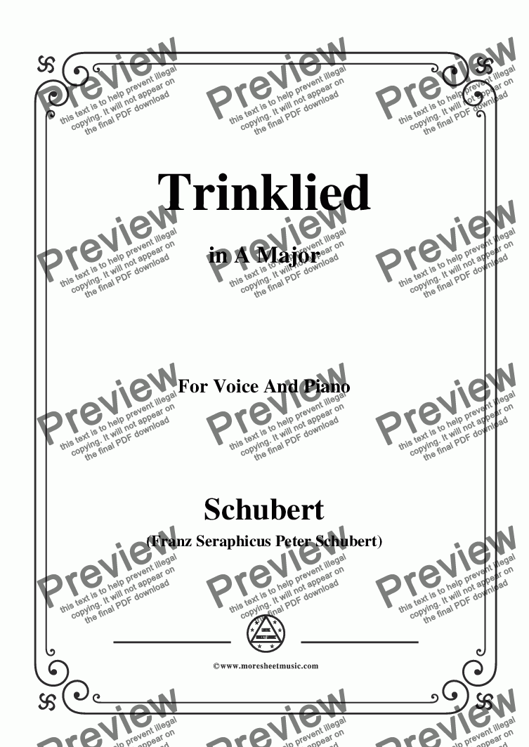 page one of Schubert-Trinklied,in A Major,for Voice&Piano