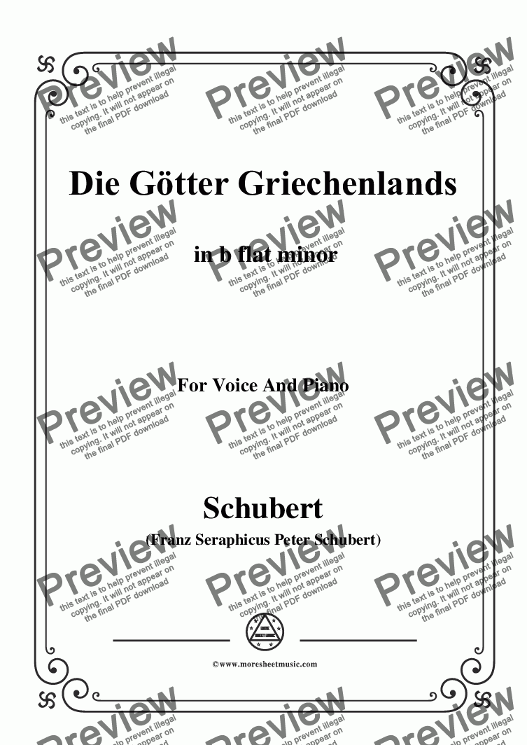 page one of Schubert-Die Götter Griechenlands(The Gods of Greece), D.677,in b flat minor,for Voice&Piano