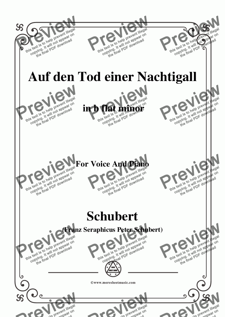 page one of Schubert-Auf den Tod einer Nachtigall,in b flat minor,for Voice&Piano