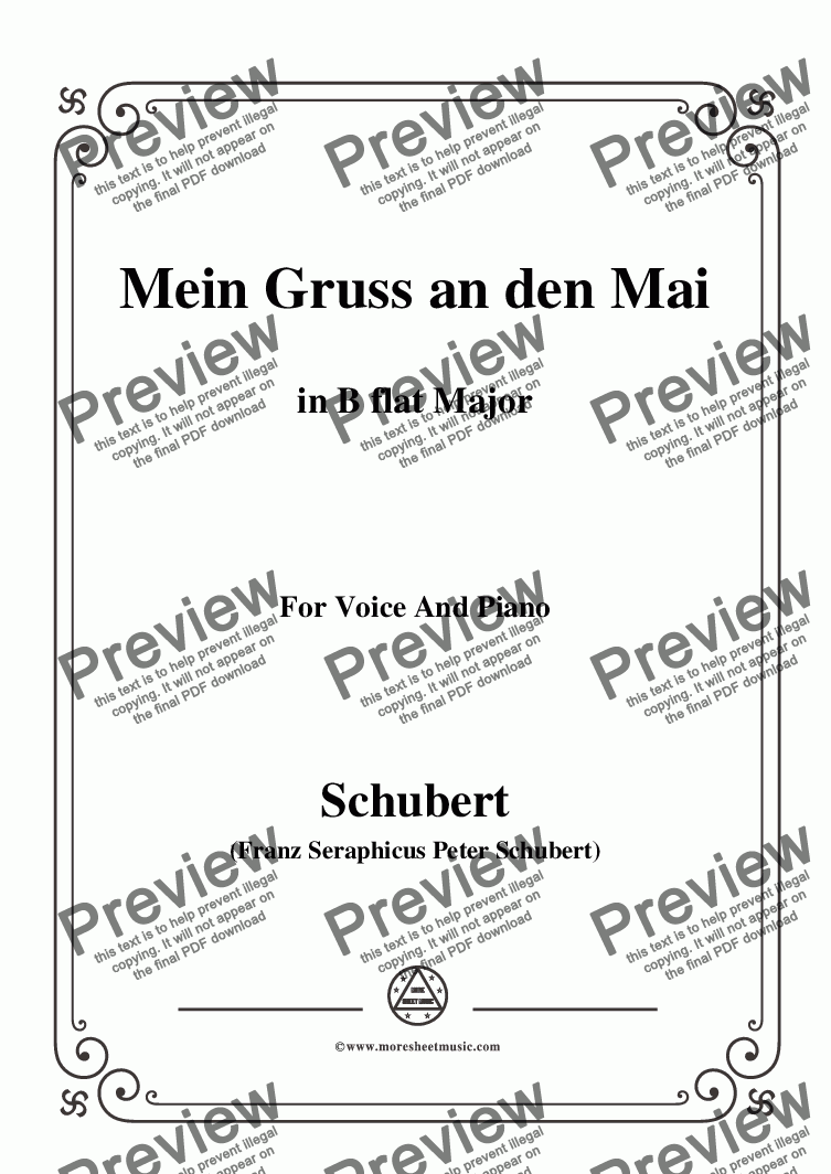 page one of Schubert-Mein Gruss an den Mai,in B flat Major,for Voice&Piano