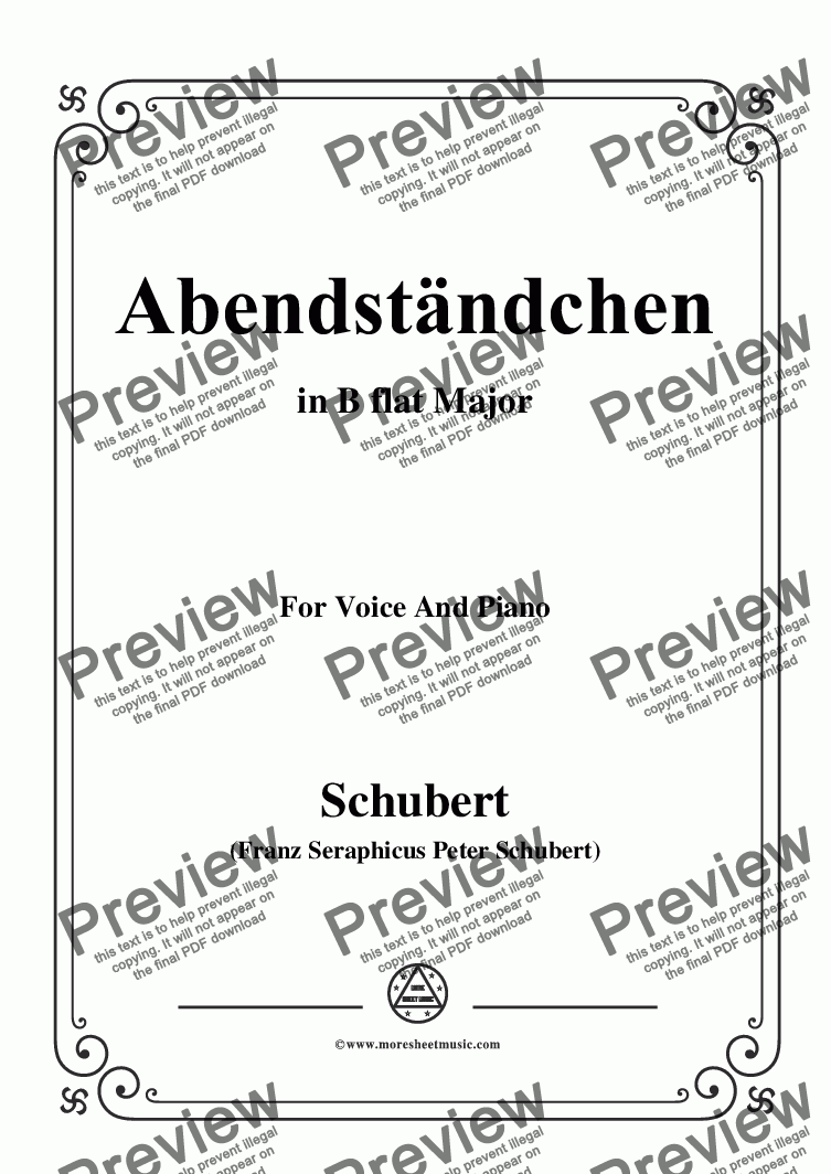 page one of Schubert-Abendständchen,in B flat Major,for Voice&Piano