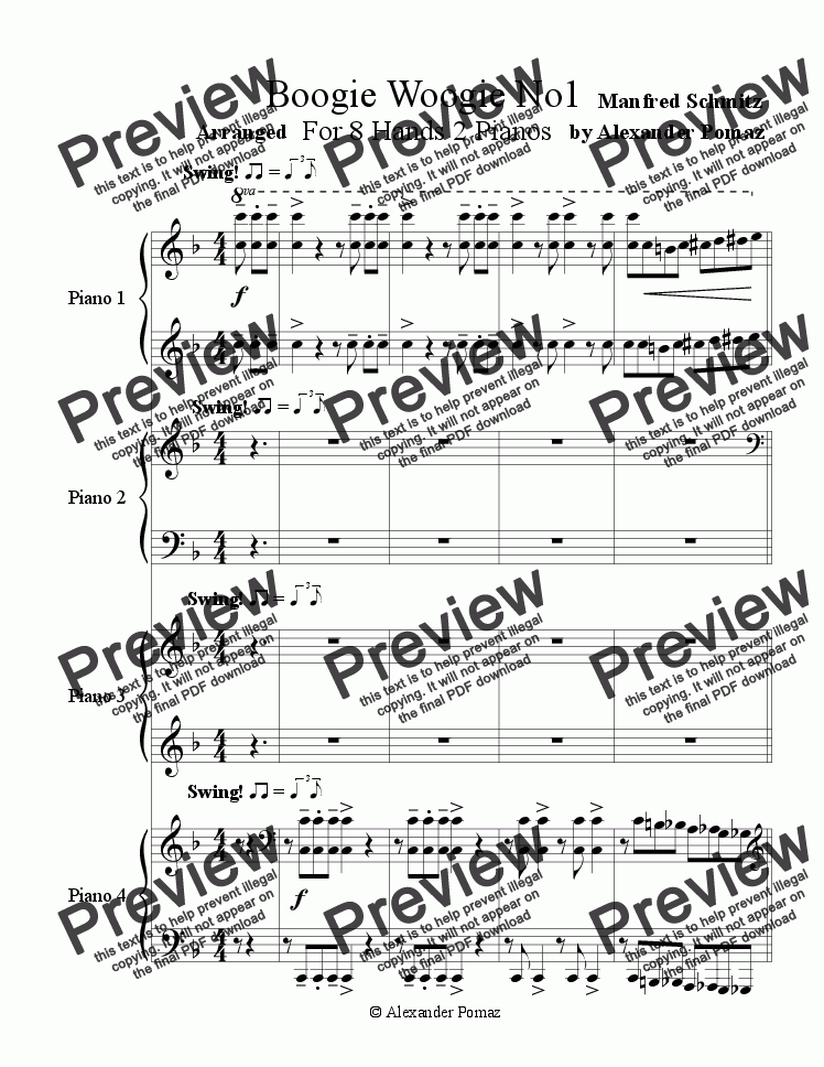 page one of Boogie Woogie No1 - Manfred Schmitz - Alexander Pomaz - For 8 Hands 2 Pianos