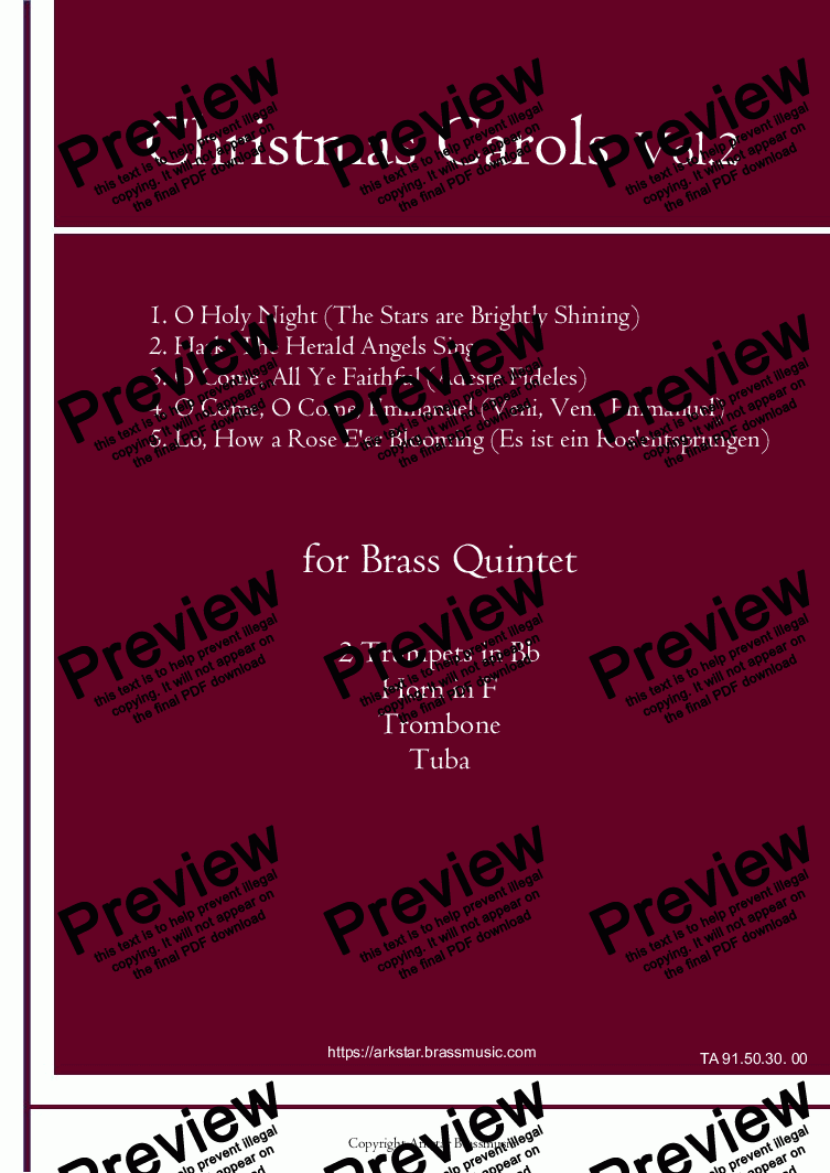 page one of Christmas Carols for Brass Quintet  Vol.2  (5 Christmas Carols) by Arkstar Brassmusic