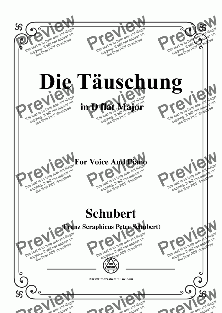 page one of Schubert-Die Täuschung,Op.165 No.4,in D flat Major,for Voice&Piano