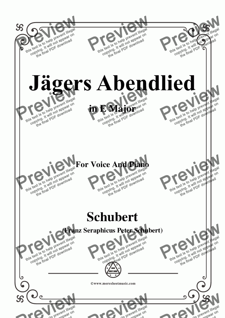 page one of Schubert-Jägers Abendlied,Op.3 No.4,in E Major,for Voice&Piano