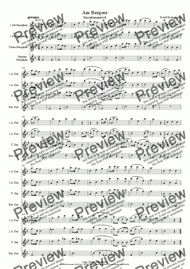 page one of Am Bergsee  Saxophonquartett